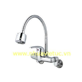 Vòi chậu rửa bát nóng lạnh ống mềm, vòng, tường – T-CH169